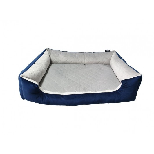 DOGIDIGI atviras gultas šunims - dygsniuota pilka/mėlyna DOGIDIGI Basic atviri gultai