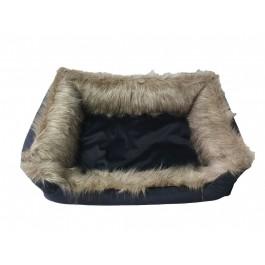 DOGIDIGI atviras gultas šunims - juodas su kailio imitacija