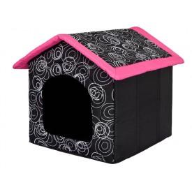 Būdelė šunims su rožiniu stogu