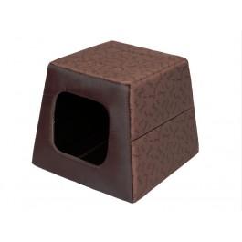 Būdelė ir guolis viename, piramidės formos. Šviesiai ruda su kauliukais