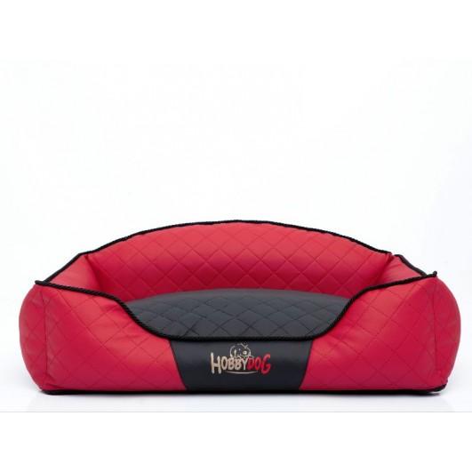 Hobby Dog Elite guolis šunims raudonas su juodu vidumi (eco oda) Premium, Elite guoliai šunims