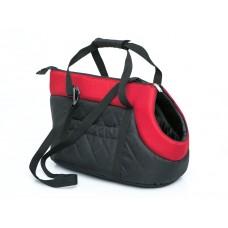 Kelioninis krepšys šunims (juodas su raudonu viršumi)