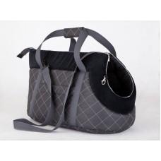 Kelioninis krepšys šunims pilkas ir juodas
