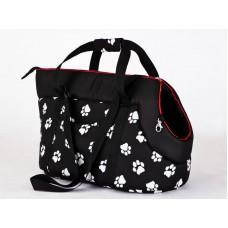 Kelioninis krepšys šunims juodas su pėdutėmis