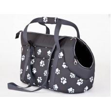 Kelioninis krepšys šunims pilkas su pėdutėmis
