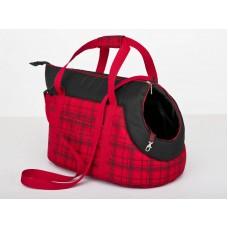 Kelioninis krepšys šunims raudonas su langeliais