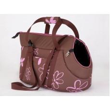Kelioninis krepšys šunims rudas su gėlėmis