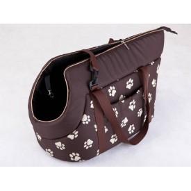 Kelioninis krepšys šunims rudas su pėdutėmis