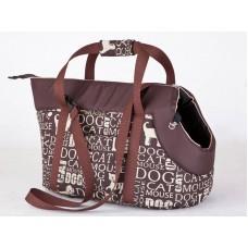Kelioninis krepšys šunims rudas su tekstu