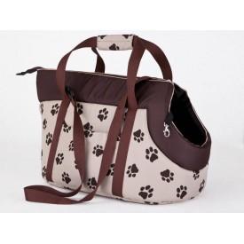 Kelioninis krepšys šunims rusvai gelsvas su pėdutėmis