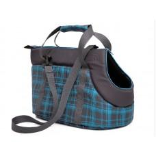 Kelioninis krepšys šunims. Šviesiai mėlynas su langeliais