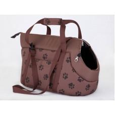 Kelioninis krepšys šunims tamsiai rudas su pėdutėmis