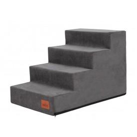 Laiptai šunims - Savoy - grafito spalva [L dydis, 4 pakopos]