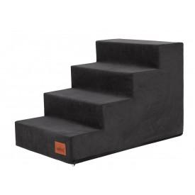Laiptai šunims - Savoy - juoda spalva [L dydis, 4 pakopos]