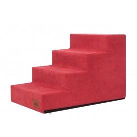 Laiptai šunims - Savoy - raudona spalva [L dydis, 4 pakopos]