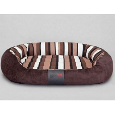 Ovalus guolis šunims rudas su juostomis (velvetas)