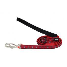 """Red Dingo pavadėlis šunims """"Pawprints"""" raudonas 25mm - 0.6m"""