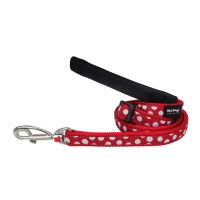 """Red Dingo pavadėlis šunims """"White Spots"""" raudonas 18mm - 1.2m"""